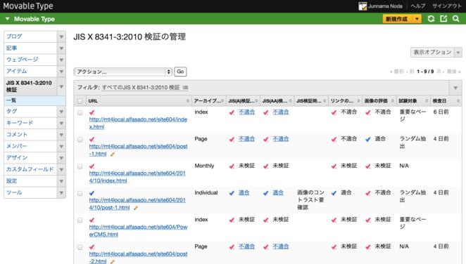 JIS X 8341-3:2010 検証の管理(一覧画面)