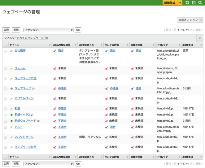 ウェブページの一覧画面