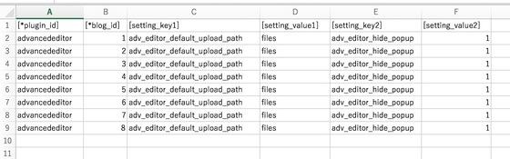 プラグイン設定をインポートするためのCSVを作成する