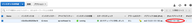 IPアドレス確認画面のキャプチャー