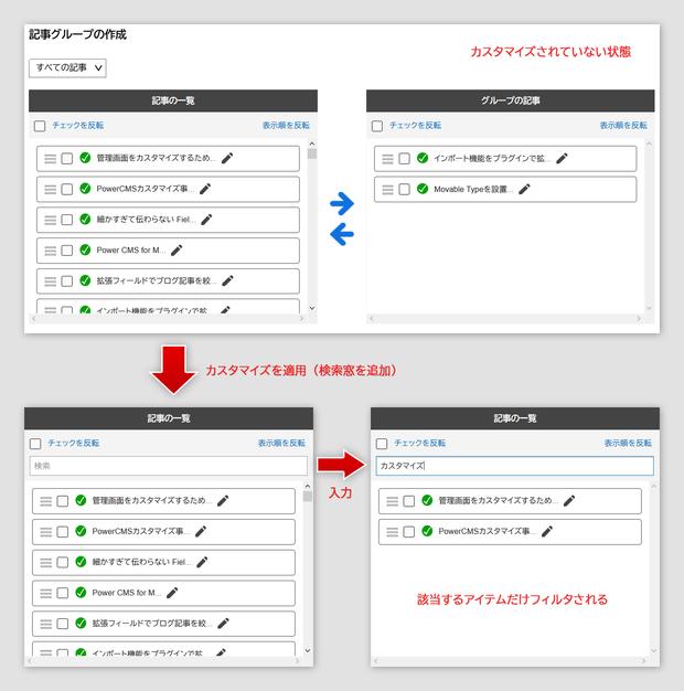 グループ編集画面の記事一覧側に検索窓を追加しフィルタリングを可能にする