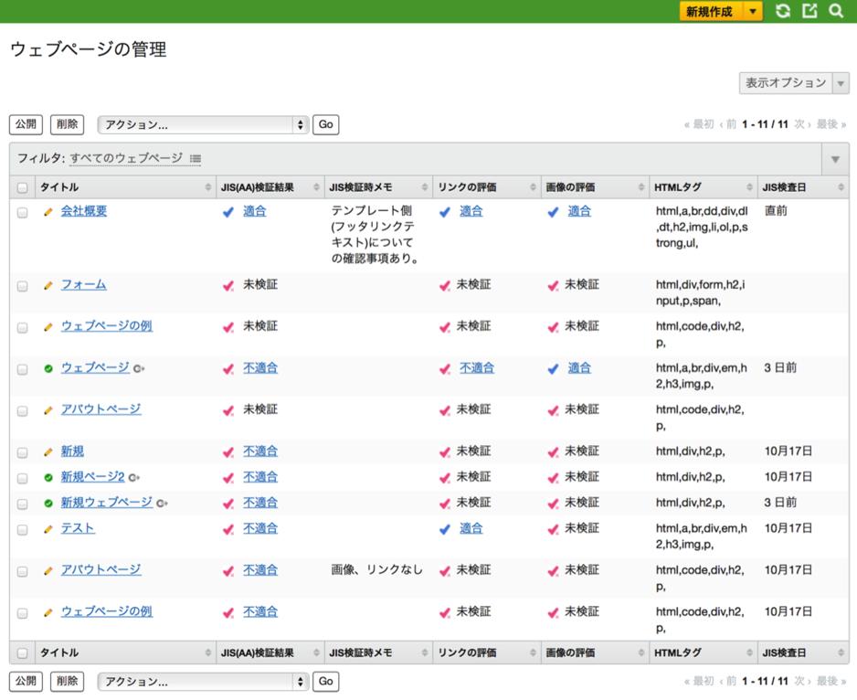ウェブページ一覧画面のスクリーンショット